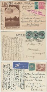 SOUTH AFRICA 1934/52? 3x post cards 1) censor DURBAN-NEW ZEALAND