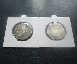 2012 & 2013 Isle of Man Christmas 50p Fifty Pence -  Stocking & Angel, Nr UNC
