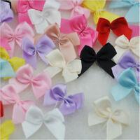 50 pcs Mini Satin Ribbon Flowers Bows Gift DIY Craft Wedding Decoration