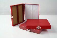Premiere Brand Crimson ABS Plastic 100pc Microscope Slide Storage Box