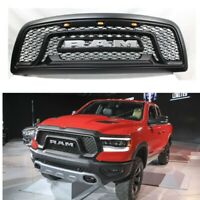 For 2009-2012 Dodge Ram 1500 Grille ABS Bumper Grill Matte Black W/ Led Lights