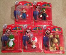 "SUPER MARIO 5"" FIGURINE COLLECTION SET OF 5 LUIGI YOSHI TOAD DONKEY KONG MOC NEW"