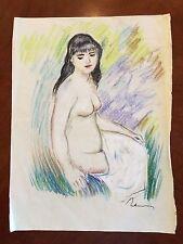 Pastel & Chalk Impressionist Nude Realism Signed Renoir Original Impressionism