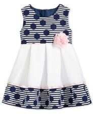 Baby Girls Dress Bonnie Baby Dots Stripes Jacquard Pink Navy Infant Size 12M NWT
