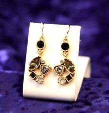 Gorgeous Patricia Locke GoldTone Earrings Black & White Swarovski Crystals NWOT