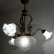 Wunderschöne Antik Französische Messing-Glas Kronleuchter, Lüster 4 Flammig