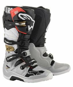 Alpinestars Tech 7 Motocross MX Race Boots Black Silver White Gold Adults