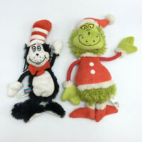 SQUEAKY Stuffed Dr. Seuss Pets Plush Dog Toys Cat In The Hat The Grinch Lot of 2