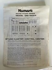 Manual and Schematic for NUMARK Studio Master Control Center DM-1500A DJ Mixer