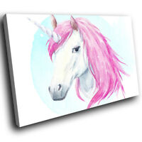 A788 Pink Watercolour Unicorn  Funky Animal Canvas Wall Art Large Picture Prints