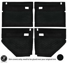 BLACK DIAMOND STITCH 4X DOOR CARD SUEDE COVERS FOR LAND ROVER DEFENDER 90 110
