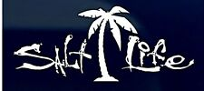 "SALT LIFE PALM TREE & SIGNATURE ""WHITE"" UV Rated Viny DECAL *FREE SHIPPING*"