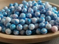 Czech glass white blue round beads 5 mm pack of 50