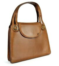 Auth Gucci GG Beige Canvas & Brown Leather Small Tote Shoulder Hand Bag Purse