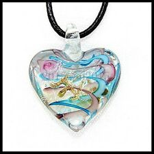 Fashion Women's Love lampwork Murano art glass beaded pendant necklace #M43