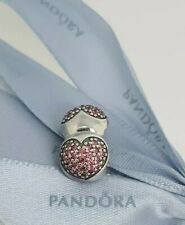 Authentic Pandora Pave Heart Clip Charm with Red / Salmon CZs 791053CZS NEW