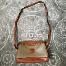 Vintage Dooney and Bourke Bag Brown Tan Leather Crossbody Purse All Weather