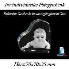 3D Herz Quader Kristall Geschenk Foto Graviert Glasfun 70x70x35 mm