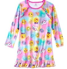 Girls EMOJI Unicorn 10/12 Nightgown Pajamas Soft Fleece Warm Night Shirt Dress