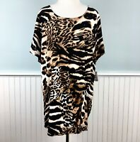 Size 2X INC Animal Print Short Sleeve Ruched Blouse Top Shirt Women's Plus NWT