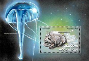 Mozambique 2001 - Sea Creatures Jellyfish Angler - Souvenir Sheet - 1414 - MNH