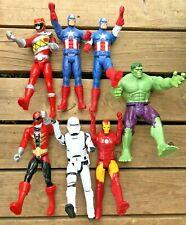 "Marvel Hero Lot Of 7 Action Figures 12"" HULK Power Rangers Stormtrooper & More"