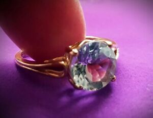 2ct Gift Set Aquamarine Women Ring & Pendant in 9K Yellow Solid Gold New & Tags