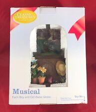 Classic Treasures Musical Farm Boy And Girl Water Globe