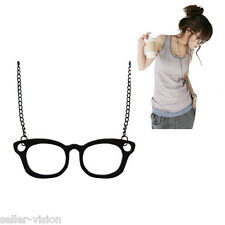 Retro Geek Watfarer Glasses Kawaii Charm Pendant Necklace Long Chain Gift Quirky