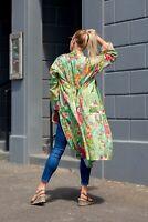 Cotton Kimono Cardigan Open Top Kaftan Frida Kahlo Bird Bathrobe Beach