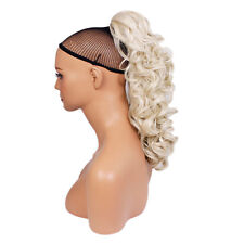 """17"""" PONYTAIL Clip in Hair CURLY Platinum Blonde #16/60 Claw Clip"""