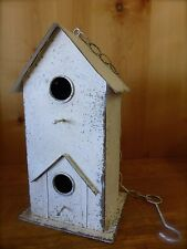 White Vintage Style Metal Primitive Birdhouse rustic distressed cottage chic