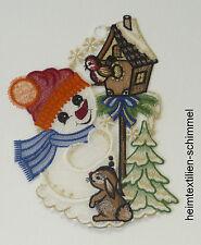 PLAUENER SPITZE ® Fensterbild WEIHNACHTEN Winter SCHNEEMANN Vogelhaus Dekoration