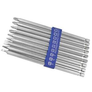 9pc Extra Long 150mm Power Bit Set Pozi Philips Flat Hex Screwdriver Drill TE684