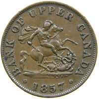 UPPER CANADA, 1857 Half-Penny Token, St. George Slaying Dragon, Haxby 219.