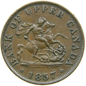 UPPER CANADA, 1857 Half-Penny Token, St. George Slaying Dragon, Haxby 219.