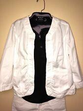 Christopher & Banks Women's White Open Cotton Lightweight Jacket Sz. M