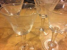 5 Vintage Floral Etched Glasses Wine Champagne Port Sherbet. Goblet