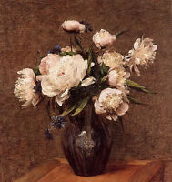 Art Oil painting still life white peony flowers in vase on table