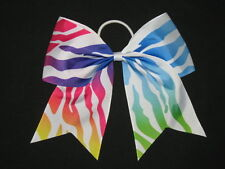 "NEW ""RAINBOW ZEBRA"" Cheer Bow Pony Tail 3"" Ribbon Girls Hair Bows Cheerleading"