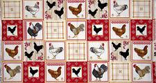 "Farm Rooster Bird Chicken Blocks Cotton Fabric Timeless Treasures 28"" Length"