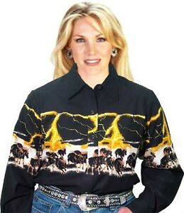 Ladies Roper Black Western Cowgirl Shirt Horses Yellow Lightning / Line Dancing