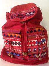 Backpack Cotton Hill Tribel Thailand Red Appliues Handmade Artisan Bohemian
