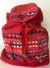 Backpack Cotton Hill Tribel Thailand Red Appliues Handmade Artisan Bohemian