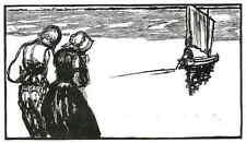 ABSCHIED mit SEGELBOOT - Émilien DUFOUR - Original Holzschnitt 1927