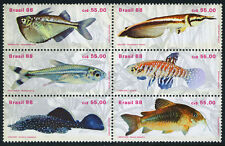 Brazil 2157 Bl/6, MNH. Fresh-water Fish, 1988