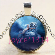 silver Glass Chain Pendant Necklace #4484 White Tiger and Fairy Cabochon Tibetan