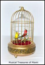 SINGING 2 BIRDS IN CAGE MUSIC BOX AUTOMATON