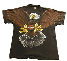 Rare Vintage Harley Davidson 1993 All Over Print Bald Eagle Large Vtg 90s Usa L