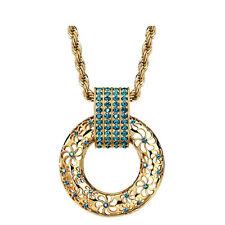 Circle Round Blue Crystal Austria Rhinestones Coffee Gold Chain Necklace Pendant